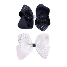 """Blue Hair Ponytail Australia - 2Pcs lot 5"""" Solid Navy Ribbon Grosgrain Hair Bows With Rhinestone For Girls 2 Colors Hair Bow For School Girls Hair Accessories"""