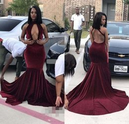 $enCountryForm.capitalKeyWord NZ - Newest Burgundy Mermaid Prom Dresses Velvet Backless Sweep Train Formal Evening Gowns Women Arabic Party Dresses Vestido De Noche