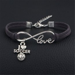 $enCountryForm.capitalKeyWord NZ - 2018 Classic Women Men Charm Vintage Style New Unique Silver Plated Infinity Love I Soccer Heart Gray Leather Bracelet Couple Birthday Gifts