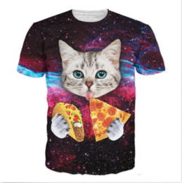 7405993ddbdd New Fashion T-shirt Men Women Summer style 3d T shirt Print cat with blue  eyes eating tacos pizza Originality Funny Casual T-Shirts