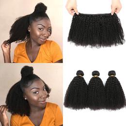Afro Human Hair Weave Australia - Brazilian Virgin Human Har 4A 4B Human Hair Extension 8A Brazilian Kinky Curl Virgin Hair 3Pcs Afro Kinky Curly Human Hair Weave