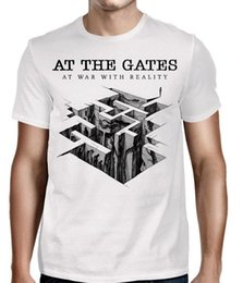Wholesale AT THE GATES At War With Reality T SHIRT M L XL Brand New Official T Shirt Men S T Shirts Short Sleeve O Neck Cotton Mens