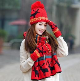 Guanti Sciarpa cappello natalizio 3 pezzi set Autunno Inverno Donna maglia  sciarpa calda antivento carino multifunzionale per le ragazze d83f6aaab6df