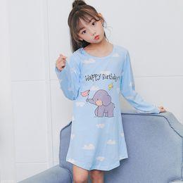 Hot Sale Long Sleeve Girl s Nightgown Baby Spring autumn Cartoon night dress  kids pajamas Knitted cotton children sleepwe HX1194 e68206a61