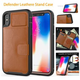wholesale x stands 2019 - Defender Leather Wallet Case For iPhone X Xs Max Xr 8 7 6 6S Plus Magnetic Car Holder Stand Card Cover For Samsung Galax