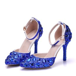 Beautiful Shoes For Women Canada - New Fashionl Elegent pointed toe shoes for women blue crystal high heel wedding shoes thick heels Beautiful rhinestone Plus Size Shoes