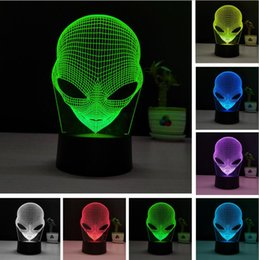 bedroom night lamp Canada - 3D Popular Alien LED RGB Colorful Gradient Desk Night Light Table Lamp Home Cafe Bar Mall Bedroom Decor Child Family Friend New Year Gifts