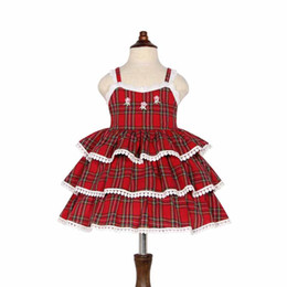 China New Girls clothing Lovely red Plaid Flower embroidery 3-layer cake dress backless princess dress fashion girl dress 100% cotton cheap girls flower cake dress suppliers