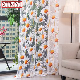 Modern Tulle Curtains For Living Room Bedroom Kitchen Curtain Yellow Floral Window Treatment Panel Drape