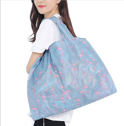 $enCountryForm.capitalKeyWord Australia - 300pcs Foldable Waterproof Storage Eco Reusable Polyester Floral Printed Shopping Tote Bags Quality shopping bags Carrier
