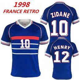 France Soccer Jerseys Canada - 1998 FRANCE RETRO VINTAGE ZIDANE HENRY  MAILLOT DE FOOT Thailand Quality a38524587