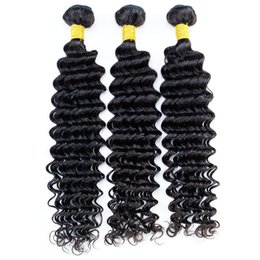Dyeing Hair Black Australia - Remy Human Hair Bundles Brazilian Virgin Hair Extensions Deep Wave Natural Color Black 1B Can Be Dyed Can Be Permed 3\4\5 Bundles