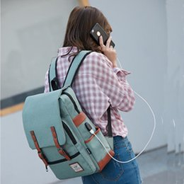 Discount travel laptop charger - USB Charger Bag Women Canvas Backpacks for Teenager Girls Men Casual Student School Bag Fashion Travel Rucksacks for Lap