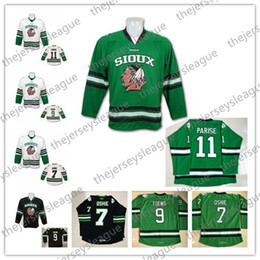 $enCountryForm.capitalKeyWord NZ - North Dakota Fighting Sioux Hawks #7 TJ Oshie 9 Jonathan Toews 11 Zach Parise Blank White Black Green Stitched University Hockey Jerseys