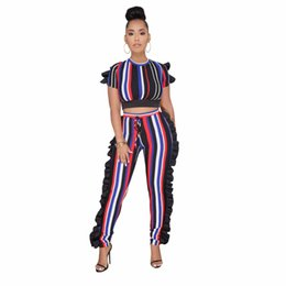33dfb408648 Summer Tracksuit Fashion Sexy Women Set Rainbow Striped Print Two pieces  Jumpsuits Suits Casual Nightclub Party Tracksuits