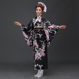 Discount evening women costume - Sexy Black Japanese Women Evening Dress Silk Rayon Kimono Yukata With Obi Dance Dress Cosplay Costume Flower One Size JK