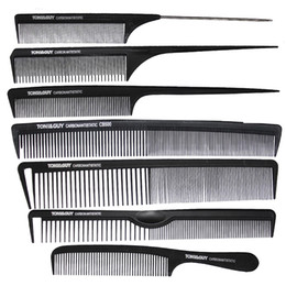 Chinese  7 Pcs  set Brand Hairdressing Comb In Black Color,Carbon Haircut Comb Antistatic And Heat-resistant,Tail TG-96 For Salon manufacturers