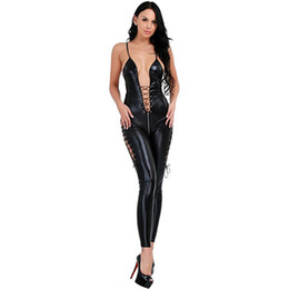 c9490b7ea13f Plus Size 5XL Sexy Women Lace Up Catsuit Gothic Faux Leather Bodysuit Erotic  Sleeveless Open Crotch Jumpsuit Cosplay Costume