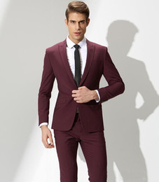 Beige Slim Suits For Men Australia - 2018 Men Suits Burgundy Custom Made Wedding Suits For Man 2 Pieces Slim Fit Formal Business Blazer Grooms Best Man Bridegroom (Jacket+Pants)