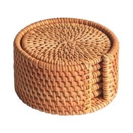 Rattan Round NZ - 6pcs lot Creative drink Coasters set for kungfu tea accessories round tableware Placemat Dish mat Rattan Weave cup mat pad
