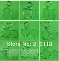 50 pçs / lote Em Branco Chaveiros de Acrílico Inserir Foto chaveiros de Plástico Quadrado Retângulo coração circular venda por atacado