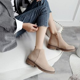 $enCountryForm.capitalKeyWord Canada - SJJH Women Faux Suede Ankle Flat Boots with Round Toe Zip Winter Short Plush Martin Boots Fashion Casual Formal Shoes Large Size A904