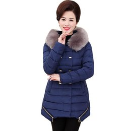 padding coats UK - Women Winter Down Cotton Padded Fur Collar Hooded Parkas Jacket Coat Long Outerwear Plus Size 5XL