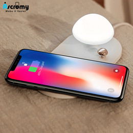 Discount lamps for charging phones - wholesale Mushroom Qi Wireless Charger Night Light Lamp Charging Pad For iPhone X 8 Samsung Galaxy S8 S9 Mobile Phone Ac