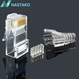 $enCountryForm.capitalKeyWord Australia - NASTAKO 50 100pcs Cat6 RJ45 connector UTP cable ethernet Jack 8P8C Network CAT 6 Modular Plugs with 6.5mm RJ45 Boots