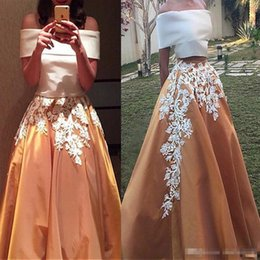 $enCountryForm.capitalKeyWord NZ - Charming Satin Off-the-shoulder Neckline Two-piece A-line Saudi Arabia Style Prom Dresses Two Stones Lace Evening Gowns For Arabic Women