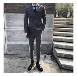 Wedding Dresses Youth Canada - Striped double-breasted suit male suit Slim Korean youth casual nine pants wedding dress