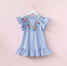 Vertical Stripe Dresses Canada - 2018 Girls Summer Dress Fringe Vertical Stripe Frill Cotton Blue Strip Suitable for Height 90-140cm Fashionable Kids Wear