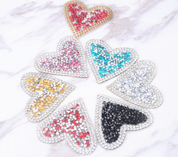 iron crystal motifs designs NZ - 25pcs lot Heart 5cm design Hotfix rhinestones Motifs Iron on Patches heat transfer Motif crystal strass Applique for clothing craft