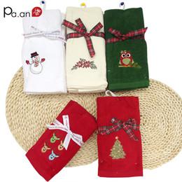 $enCountryForm.capitalKeyWord NZ - Cute 3 Pcs lot 100% Cotton Face Towel for Kids Cartoon Santa Claus Owl Snowman Tree Embroidered Soft Christmas Supply Towels
