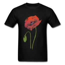 Fashion Abstract T Shirt NZ - Cotton Fabric Mens Short Sleeve Red Poppy Abstract Watercolor T-shirts Casual Tops Shirt Fashion Summer Crew Neck Clothing Shirt