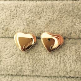 fashion studs earrings 2018 - Famous brand 316L Titanium steel stud Earring Luxury Heart Shape Brand Women Charm love Earrings Fashion Jewelry wholesa