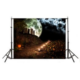 Halloween pHotograpHy backdrops online shopping - 7ft W x5ft H Halloween Photography Background Pumpkin Lantern Backdrop Night Moon with Trees Bird for Photographic Studio Props