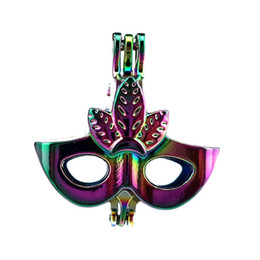 China 10pcs lot Rainbow Color Dress Party Mask Beads Cage Locket Pendant Diffuser Aromatherapy Perfume Essential Oils Diffuser Floating Pom suppliers