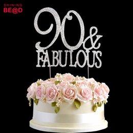 10 Pcs Lot 90 Fabulous Cake Topper Decoration Crystal Rhinestones Monogram Number Ninety