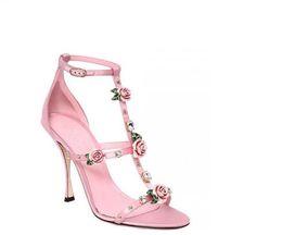 745d87e75b77 Women Elegant High Heels Sandals 2018 New Style 3D Pink Rose Dress Shoes  Rivet Diamond Women Pumps Silk Satin Evening Party Fashion Shoes