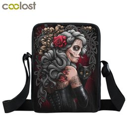 Gothic handbaGs online shopping - Dark Gothic Bag Girls Boys Mini Messenger Bag Punk Women Handbags Grim Reaper Teenage Shoulder Skull Crossbody Bags for Men
