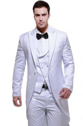 tuxedo long back gray NZ - Custom Made Long Groom Tuxedos White Groomsmen Best Man Suit Wedding Men's Suits Bridegroom Groom Wear (Jacket+Pants) Formal Party Suits