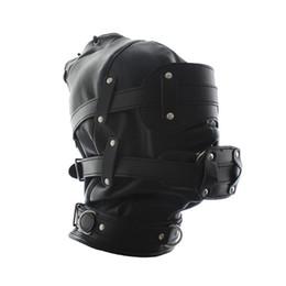 $enCountryForm.capitalKeyWord UK - Bondage Gear Hood Mask BDSM Locking Blindfold With Mouth Bite Dildo Gag Headgear Sex Toys for Women Faux Leather Black GN312400018