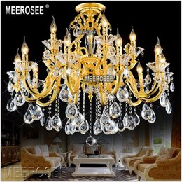kitchen light fittings 2019 - Luxurious Golden Chandelier Crystal Light Fixture Lustre Crystal Lamp Fitting Suspension Light with 100% k9 Crystal MD88