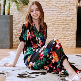 $enCountryForm.capitalKeyWord Canada - SSH0215 Women Pajamas Spring Summer Short Sleeves Long Pants Two Pieces Set Pyjamas Satin Silk Sleepwear Flower Print Pajama Set