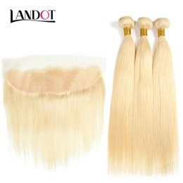 Discount straight virgin hair frontal - 9A Grade 613# Bleach Blonde 13x4 Lace Frontal Closures With 3 Bundles Brazilian Peruvian Indian Malaysian Straight Virgi