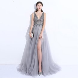 chic formal evening gown UK - 2019 Chic Split Side A-Line Prom Dresses silver major beading Sexy V neck Long Backless Formal Evening Gowns Cheap Red Carpet Celebri