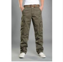 $enCountryForm.capitalKeyWord NZ - Mens Cargo Pants Casual Mens Pant Baggy Regular Cotton Trousers Male Combat Military Tactical Pants with Multi Pockets
