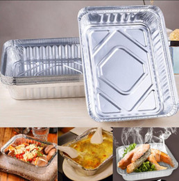 vegetable bake NZ - BBQ Aluminum Foil Trays Disposable Food Vegetables Container Plates Bowls Baking Pan Kitchen Tools 650ml