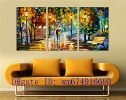 Discount classical couple paintings - Couples Night Street , 3 Pieces Home Decor HD Printed Modern Art Painting on Canvas (Unframed Framed)